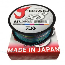 Плетёный шнур Daiwa J-Braid X8 Multi Color 0,51mm 300m